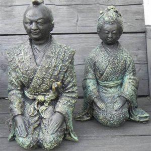 Japans dame en heer zwart groen gepainted